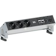 Desk 2 , fiche à contact de protection/CAT6/USB/HDMI, alu
