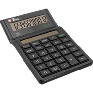 Desktopcalculator Twen Eco 12, 12-cijferig display op zonne-energie, EK, VK & margeberekening.