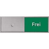 Deurbord met schuiffunctie vrij-bezet voor deurbord Lyon, zelfklevend, B 150 x H 50 mm, aluminium