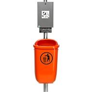 Dispenser voor hondenpoepzakjes met prullenbak 50 l, incl. standbuis en bevestigingsmateriaal, set