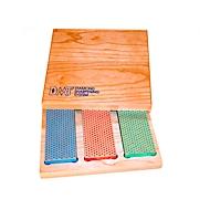 DMT Diamantschärfer Set, 3-teilig, grob 40 µ/fein 25 µ/extrafein 9 µ, trocken & mit Wasser verwendbar, jeweils L 152 x B 51 x H 19 mm, in Hartholzbox