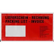 Documenthoes DEBATEC lang, rood, zelfklevend, opdruk 'Packing list/Invoice'