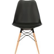 DOGEWOOD-schaalstoel, kunststof, met houten poten, zitkussen. zwart.
