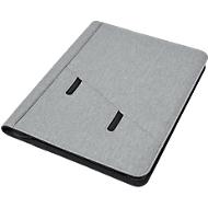 Dokumentenmappe DOKU, DIN A4, Kunststoff mit Leinenoptik, 7 Fächer, inkl. Schreibblock, Tampondruck 50 x 20 mm, grau