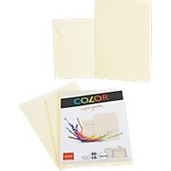 Doppelkarten ELCO Color, blanko, A6, 200 g/m², inkl. passenden Umschlägen C6, 90 g/m², Set mit jeweils 10 Stück, chamois