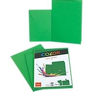 Doppelkarten ELCO Color, blanko, A6, 200 g/m², inkl. passenden Umschlägen C6, 90 g/m², Set mit jeweils 10 Stück, grün