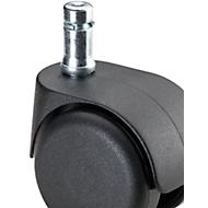 Doppelrollen, Polyamid, weich, Steckbolzen M10 x 22 mm, 5 Stück.