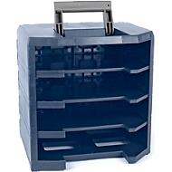 Draagframe raaco HandyBoxxer 5x5, voor maximaal 4 assortimentsdozen type 55 5x5-0/55 5x5-13/55 5x5-15, handgreep en deksels, PP