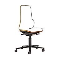 Drehstuhl Neon, Basis-Stuhl (ohne Polsterelement), Permanentkontakt, Rollen, orange
