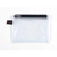 Dubbele kamerzak FolderSys, A6, 2 ritsen, vingerlus, PVC, zwart-transparant, 10 stuks