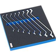 Dubbele ringsleutelset met hardschuiminzet, 8 st., voor kasten uit de FS5-serie, afmetingen 299 x 567 mm.