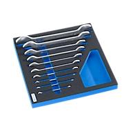 Dubbele steeksleutelset in hardschuiminleg, 10-delig, voor kastenserie FS4, afmetingen 299 x 437 mm