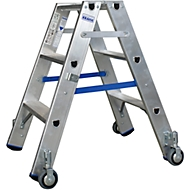 Dubbele trapladder van aluminium met wielen, 2 x 3 treden