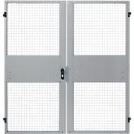 Dubbele vleugeldeuren, voor gaas-scheidingswandsysteem, B 2000 x H 2070 mm, lichtzilver