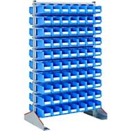 Dubbelzijdige staande plank, B 1130 x D 700 x H 1885 mm, 140 x 3 l, blauw