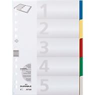 DURABLE Intercalaires PP de couleurs, A4 , 5 divisions