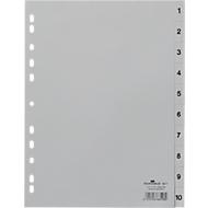 DURABLE Kunststoffregister, A4 hoch, Zahlen 1-10, grau