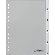 DURABLE PP-Register mit Wechseltaben, Zahlen 1-5, grau
