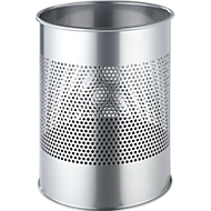 DURABLE Prullenbak, van geperforeerd staal, 14,7 liter, Ø 260 x H 315 mm, zilver metallic