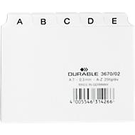 DURABLE tabkaarten, A7, letters A-Z, kunststof, wit