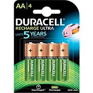 DURACELL® oplaadbare batterij Mignon AA, 2400 mAH, 4 stuks