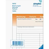 Durchschreibeblock, Rechnungen, A6, d,f,it, 50/50 Bl., orange/weiss