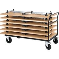 Duwbeugelwagen met 6 klaptafels, beuken