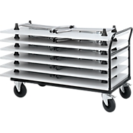 Duwbeugelwagen met 6 klaptafels, lichtgrijs