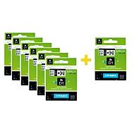 DYMO® voordeelpakket lint beletteringssystemen 43613, 6 mm breed, wit/zwart, 6 + 1 GRATIS