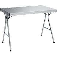 Edelstahl-Arbeitstisch mit klappbarem Fußgestell, 1200x700x850 mm