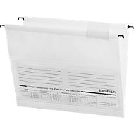 EICHNER Hängemappen,für Formate bis DIN A4, Öffnung seitlich, PVC, weiß, 10 Stück