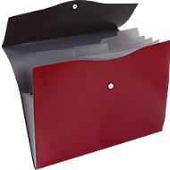 EICHNER waaiermap, 5 vakken, A4-formaat, drukknoopsluiting, rood