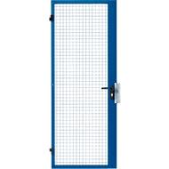 Einflügeltür, für Gittertrennsystem, Türanschlag rechts/links, B 850 x H 2070 mm, mit Einsteckschloss, blau