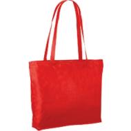 Einkaufstasche, aus 100 % Polypropylen, mit Reißverschluss, lange Henkel, rot