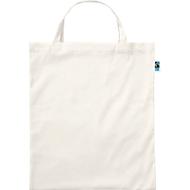 Einkaufstasche Fairtrade, 100 % Bio-Baumwolle, kurze Henkel, natur