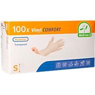 Einmalhandschuhe Comfort Medi-Inn, Vinyl, puderfrei, latexfrei, Größe S, klar, Packung mit 100 Stück