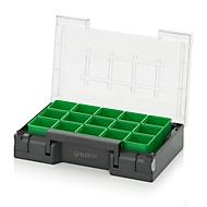 Einsatzkasten-Set für Sortimentskasten 300 x 200 mm, ABS-Kunststoff, Rastergröße 1 x 1, grün, 15-teilig