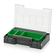 Einsatzkasten-Set für Sortimentskasten 300 x 200 mm, ABS-Kunststoff, Rastergrößen 1 x 5, 1 x 2 und  2 x 3, grau/grün, 4-teilig