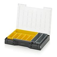 Einsatzkasten-Set für Sortimentskasten 400 x 300 mm, ABS-Kunststoff, Rastergrößen 2 x 5, 1 x 3 und 1 x 5, grau/gelb, 8-teilig
