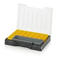 Einsatzkasten-Set für Sortimentskasten 400 x 300 mm, ABS-Kunststoff, Rastergrößen 2 x 6, 1 x 1, grau/gelb, 24-teilig