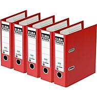 ELBA Ordner rado plast, A5 hoch,  Rückenbreite 75 mm, Karton PVC, 5 Stück, rot