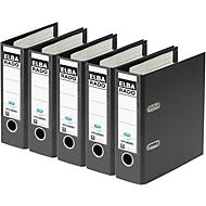 ELBA ordner rado plast, A5 staand, rugbreedte 75 mm, Karton PVC, 5 stuks, zwart