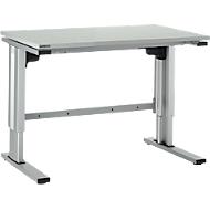 Elektrisch höhenverstellbarer Arbeitstisch EL-1, 1200 x 800 mm, lichtgrau/alusilber