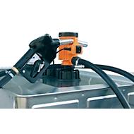 Elektropumpe CEMO, 12V, 25 l/min effektiv, 4 m Anschlusskabel mit Klemmen, 6 m Schlauch, Automatik-Zapfpistole