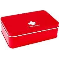 Erste Hilfe-Set MORRIS, rot, in Metallkiste, 15-teilig, Tampondruck 60 x 30 mm