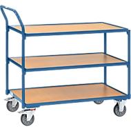 Etagewagen, 3 niveaus, staal/hout, blauw beuken, B 850 x D 500 mm, tot 300 kg, TPE-banden
