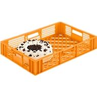 Euro Box Bäcker-Kasten, lebensmittelecht, Inhalt 15,4 L, durchbrochene Version, gelb-orange
