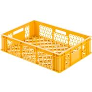 Euro Box Bäcker-Kasten, lebensmittelecht, Inhalt 27 L, durchbrochene Version, gelb-orange