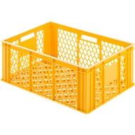 Euro Box Bäcker-Kasten, lebensmittelecht, Inhalt 47,8 L, durchbrochene Version, gelb-orange