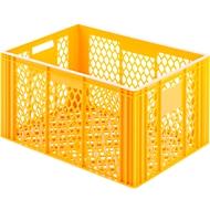 Euro Box Bäcker-Kasten, lebensmittelecht, Inhalt 79,8 L, durchbrochene Version, gelb-orange